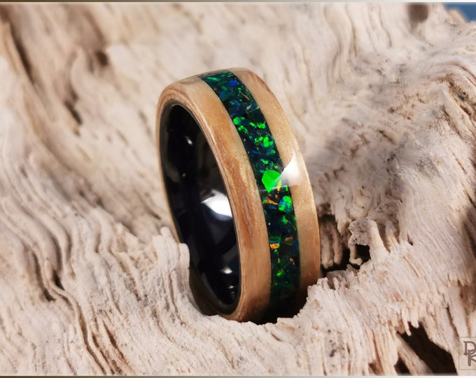 Bentwood Ring - Japanese Tomo Ash w/Black Emerald opal inlay, on polished black ceramic ring core