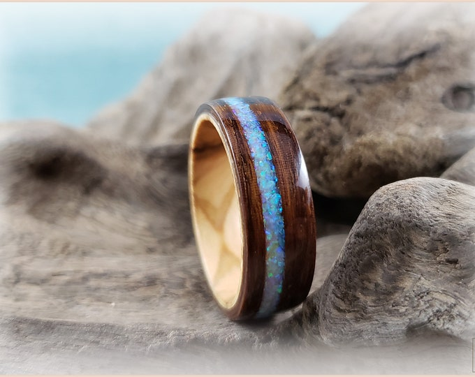 Bentwood Ring - Ipe with Vanilla Opal inlay, on Olivewood ring core