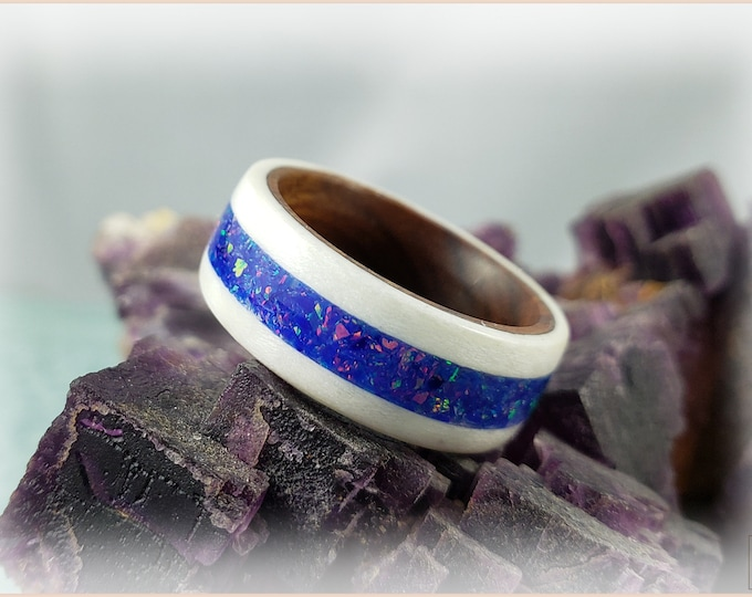 Bentwood Ring - Ice White Birdseye Maple w/Starry Night Opal inlay on Ironwood core