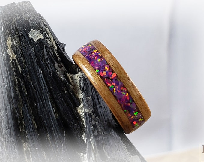 Bentwood Ring - Black Cherry w/Royal Purple opal inlay, Rosewood ring core.