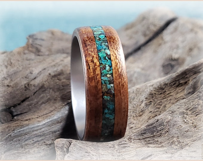 Bentwood Ring - Bubinga w/Arizona Chrysocolla stone inlay, on titanium ring core