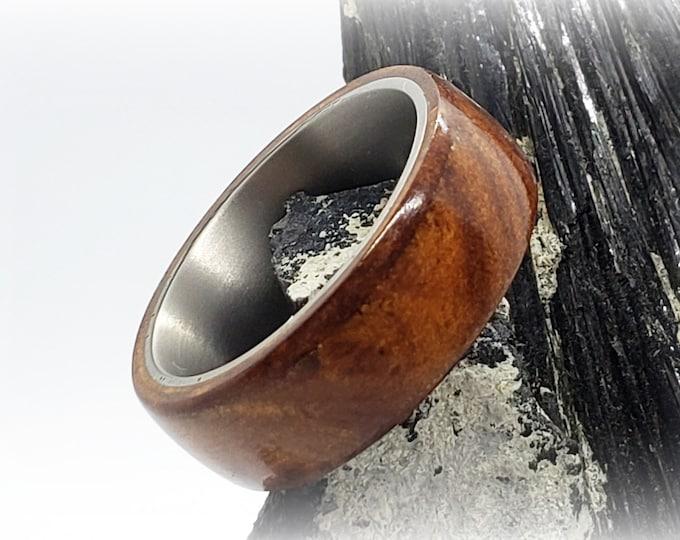 Bentwood Ring - Rare Camphor Burl - titanium ring core.