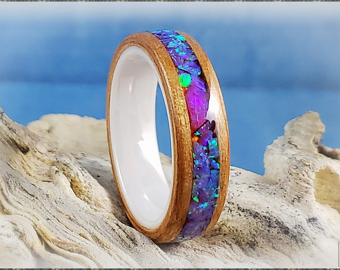 Bentwood Ring - Curly Cherry w/Multi Violet and Orchid chunk opal inlay, on polished white ceramic ring core