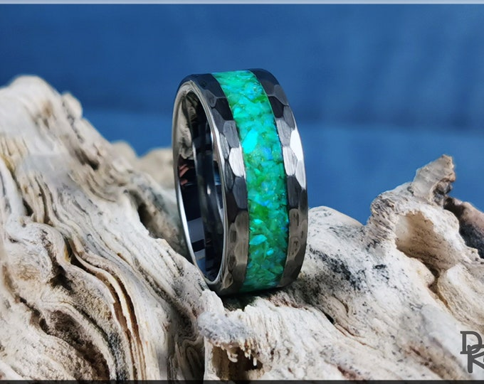 Hammered 8mm Tungsten Carbide Channel Ring w/Opal inlay