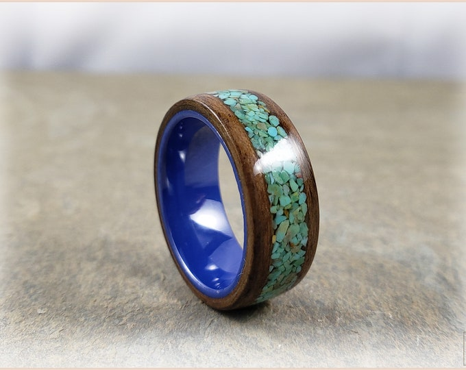 Bentwood Ring - Rustic French Walnut w/genuine Alacran Turquoise inlay, on Cobalt blue ceramic ring core