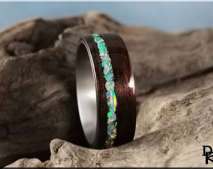 Bentwood Ring - Smoked Etimoe w/Baby Blue opal inlay, on titanium ring core - Wood Ring