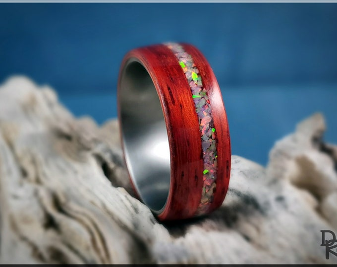 Bentwood Ring - Candy Striped Padauk w/Sun and Ice Opal inlay, on Titanium ring core