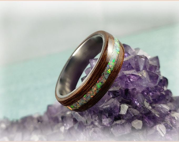 Bentwood Ring - Rare Angelique w/White Fire opal inlay on titanium ring core