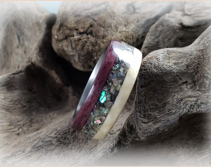 Bentwood Ring - Purpleheart and Sycamore w/Abalone Shell inlay, on titanium ring core
