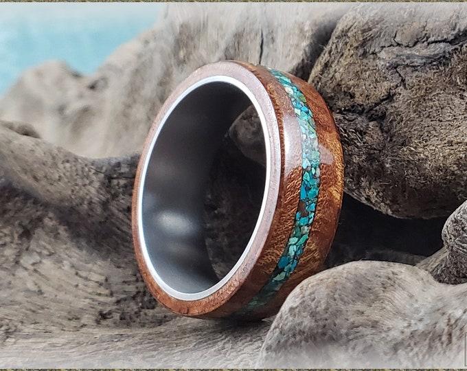 Bentwood Ring - Rare Carpathian Elm Burl w/offset Arizona Chrysocolla inlay on titanium core