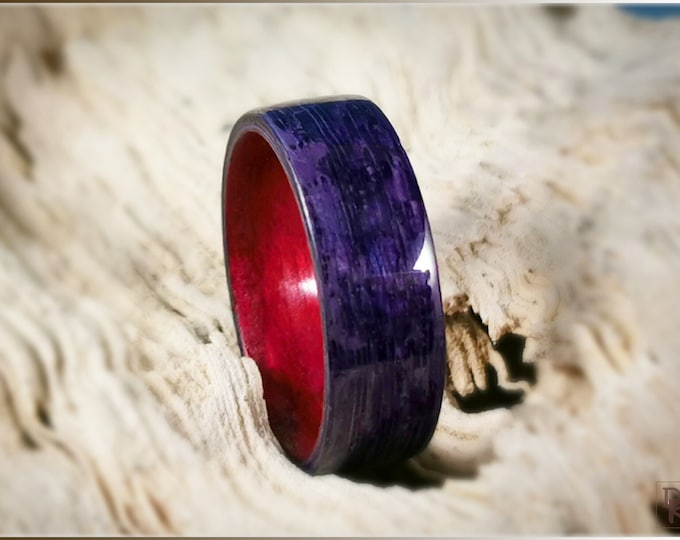 Dual Bentwood Ring - Amethyst Koto on bentwood Cabernet Tulipwood ring core
