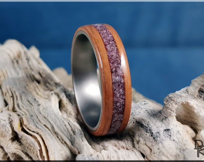 Bentwood Ring - Pear Wood w/Lavender Lepidolite inlay - titanium ring core.