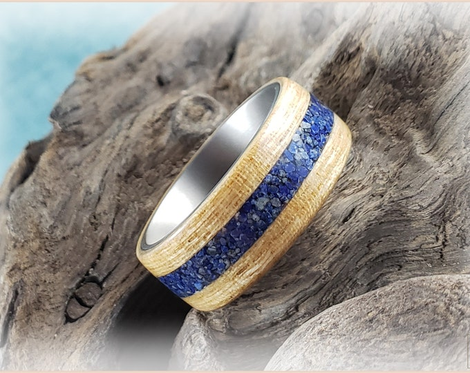 Bentwood Ring - Japanese Ash w/Lapis Lazuli Stone inlay, on titanium ring core