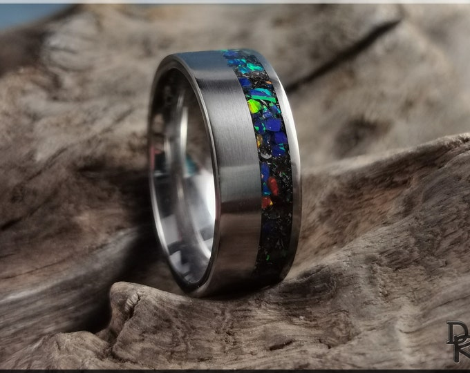 Titanium Offset 8mm Channel Ring w/Meteorite and Opal inlay