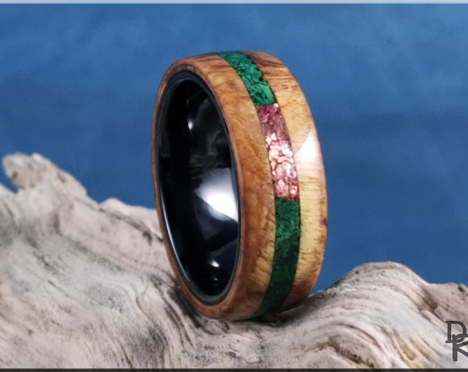 Bentwood Ring - Olive Ash Burl w/Green Malachite and Copper inlay, on titanium ring core