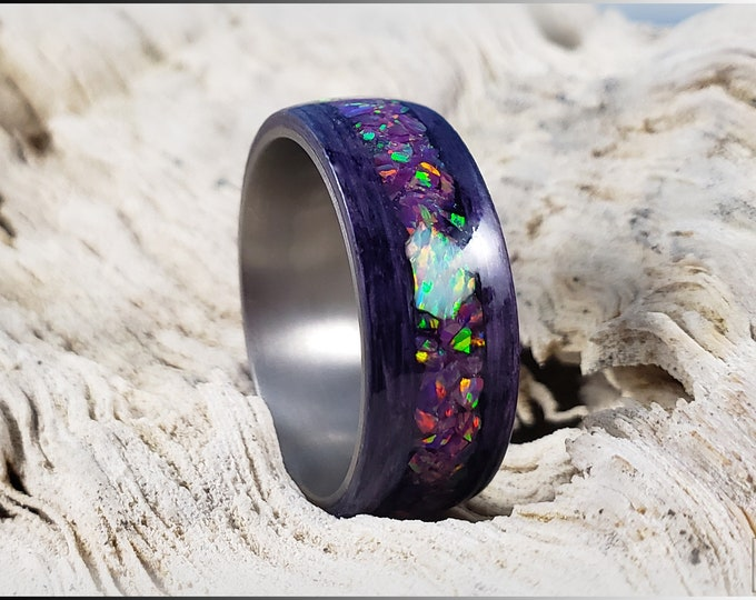 Bentwood Ring - Amethyst Koto w/Royal Purple and White Chunk Opal inlay, on titanium ring core