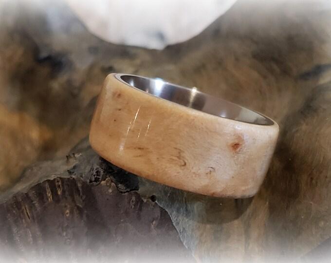 Bentwood Ring - Sycamore Burl - titanium ring core.