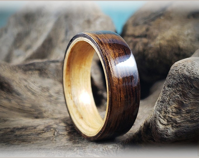 Dual Bentwood Ring - Figured Indian Laurel on Bentwood Swiss Aspen ring core