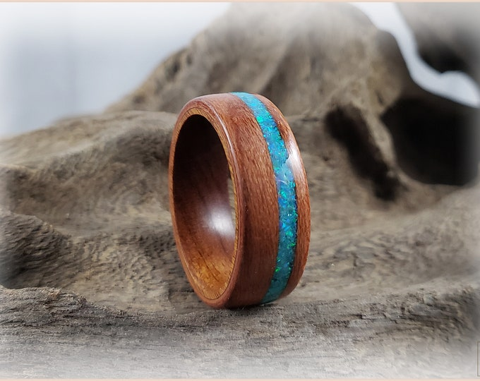 Bentwood Ring - Plum Wood w/Aqua Fire opal inlay on Ironwood core