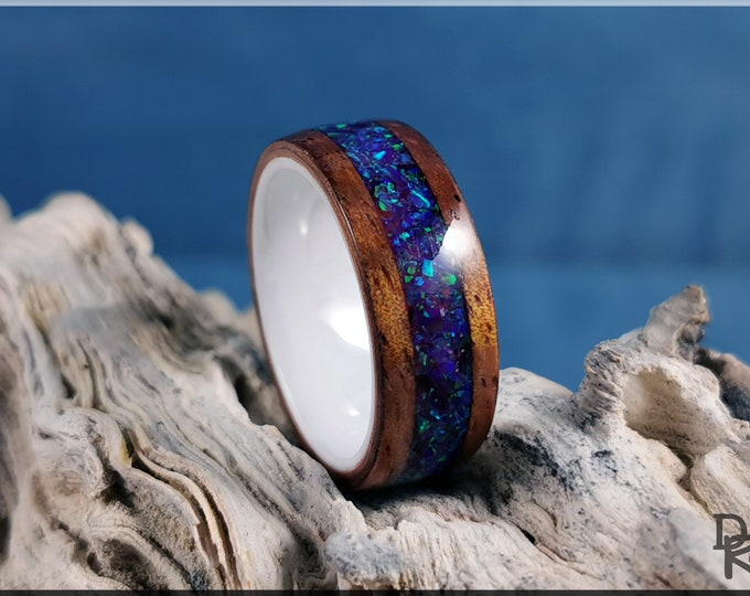 Bentwood Ring - Golden Hawaiian Koa w/Amethyst Opal inlay, on polished white ceramic ring core