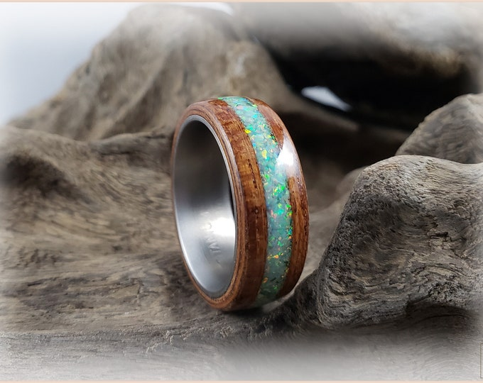 Bentwood Ring - Jatoba w/Moon Yellow Opal inlay, on Titanium ring core