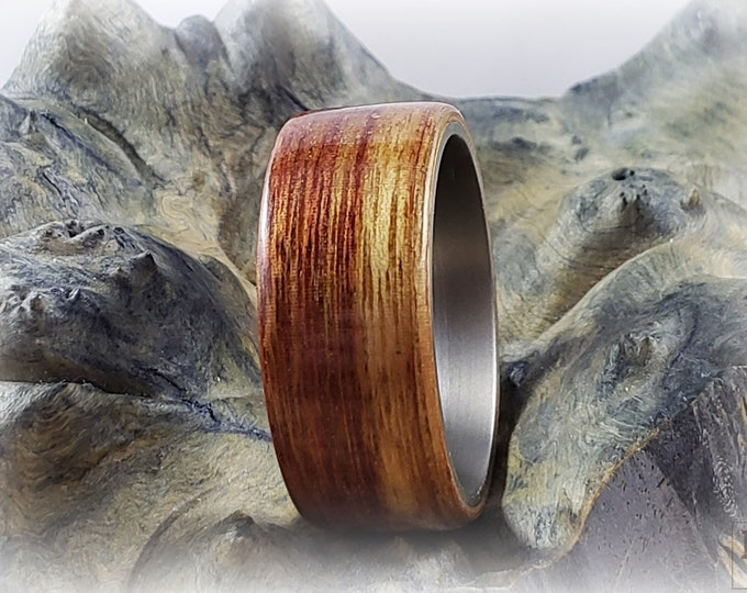 Bentwood Ring - Canarywood - titanium ring core.