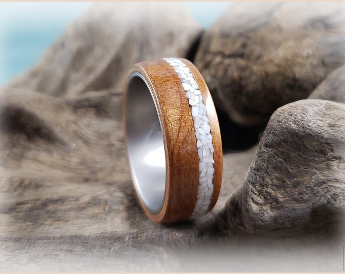 Bentwood Ring - Curly Cherry w/Howlite stone inlay, on titanium ring core
