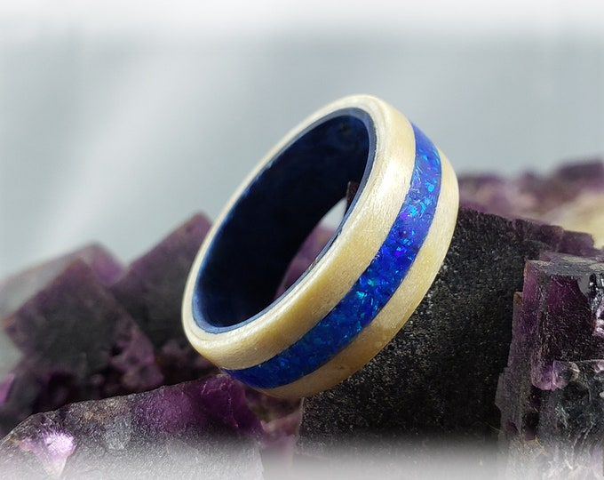 Bentwood Ring - Rare Angel Step Sycamore w/Sleepy Blue Opal inlay, on Blue Box Elder ring core