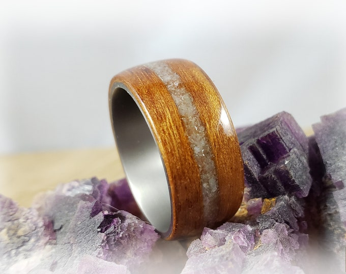 Bentwood Ring - Tigerwood w/Green Aventurine stone inlay on titanium ring core