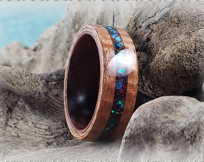 Bentwood Ring - Fiddleback Kotibe w/House Blend opal inlay, on Kingwood ring core