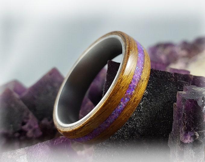 Bentwood Ring - Burmese Teak w/Lavendar Opal inlay, on titanium ring core