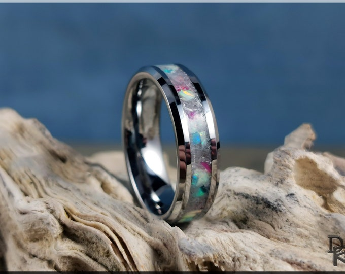 Tungsten Carbide Channel Ring w/Selenite Stone and Multi-Opal inlay - metal ring