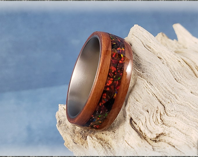 Bentwood Ring - Tineo w/Multi Cherry opal inlay on a titanium inner ring core