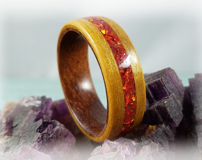 Bentwood Ring - Golden  Satinwood w/Ruby Fire Opal inlay on Rosewood ring core