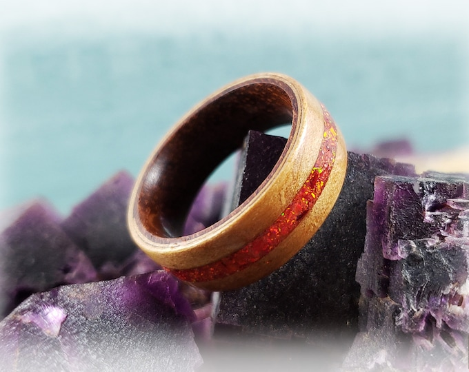 Bentwood Ring - Curly Cherry w/Ruby Fire opal inlay, on Rosewood ring core