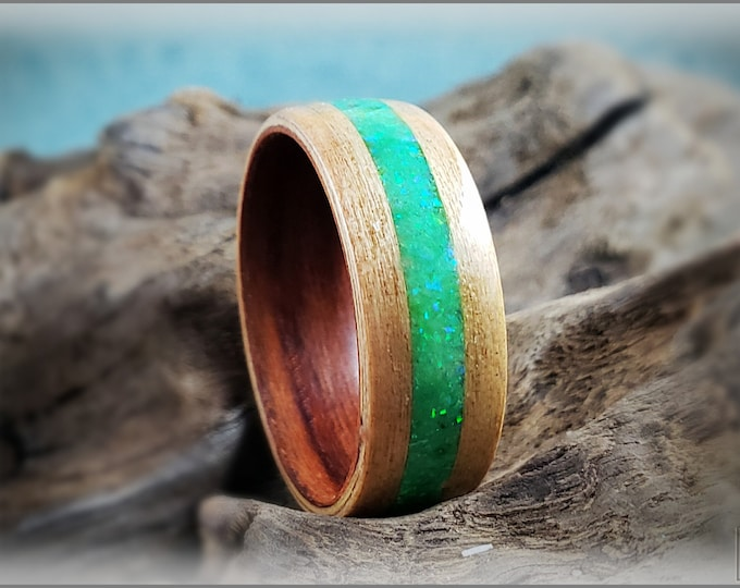 Dual Bentwood Ring - Flaky White Oak w/Opal Glow Mix inlay, on Bentwood Plum ring core