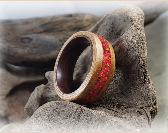 Bentwood Ring - Rift Cut Black Cherry w/Ruby Fire opal inlay, on Ironwood ring core