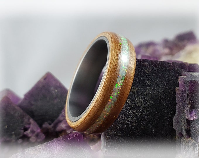 Bentwood Ring - Black Cherry w/White Fire opal inlay on titanium ring core
