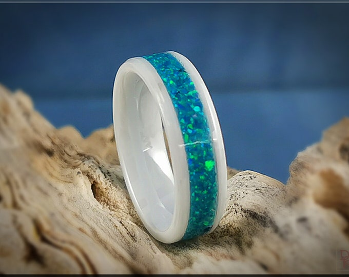 Polished White Ceramic 6mm Channel Ring w/Opal inlay