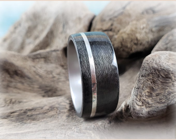 Bentwood Ring - Graphite Grey Maple w/offset .925 Sterling Silver inlay, on titanium ring core