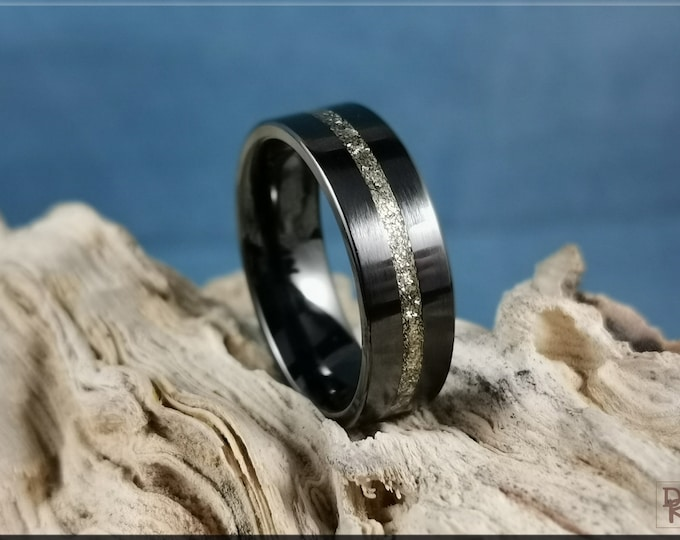 Black Ceramic Thin Line Channel Ring w/White Brass Flake inlay