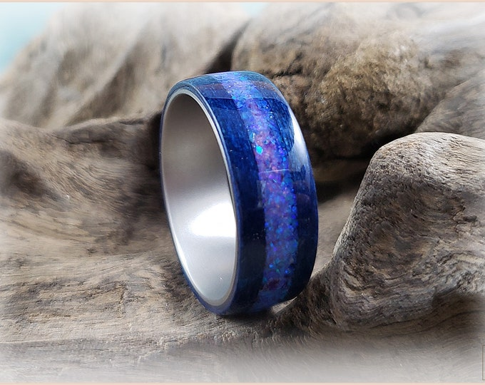 Bentwood Ring - Midnight Blue Tulipwood w/Pink Sugar Opal inlay on titanium ring core