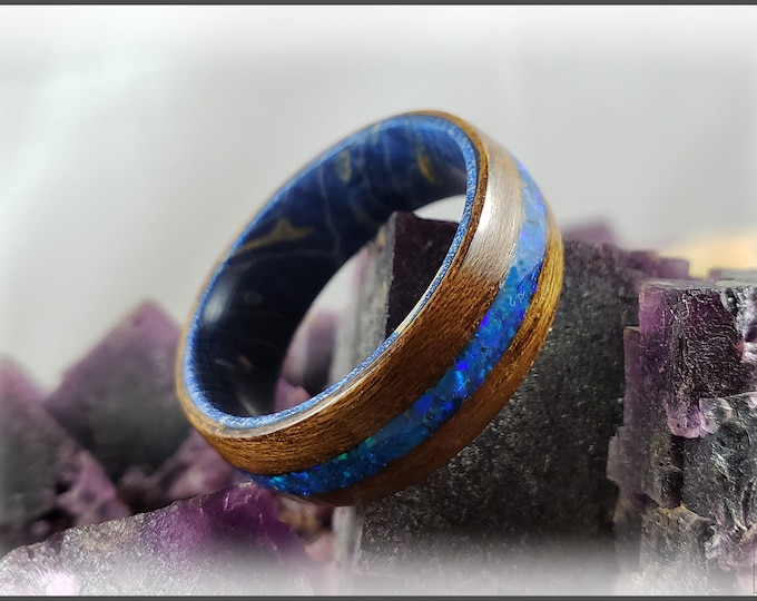 Bentwood Ring - Burmese Teak w/Sleepy Blue Opal inlay, on Blue Box Elder ring core