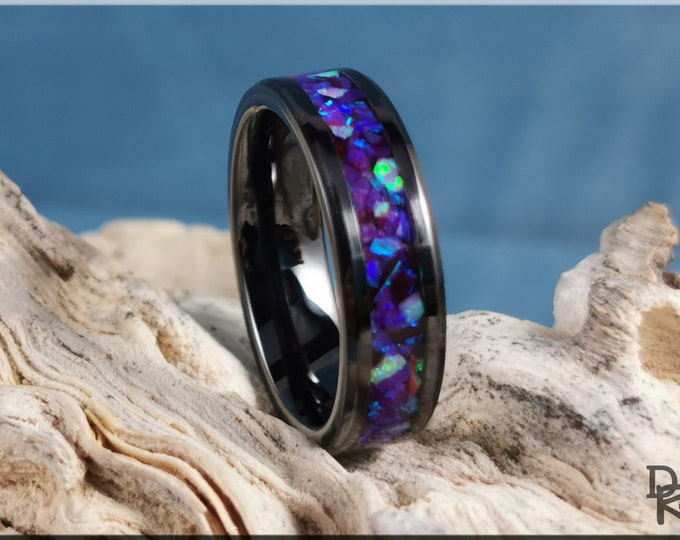 Polished Black Ceramic 6mm Channel Ring w/Waterlily and Pink Opal inlay