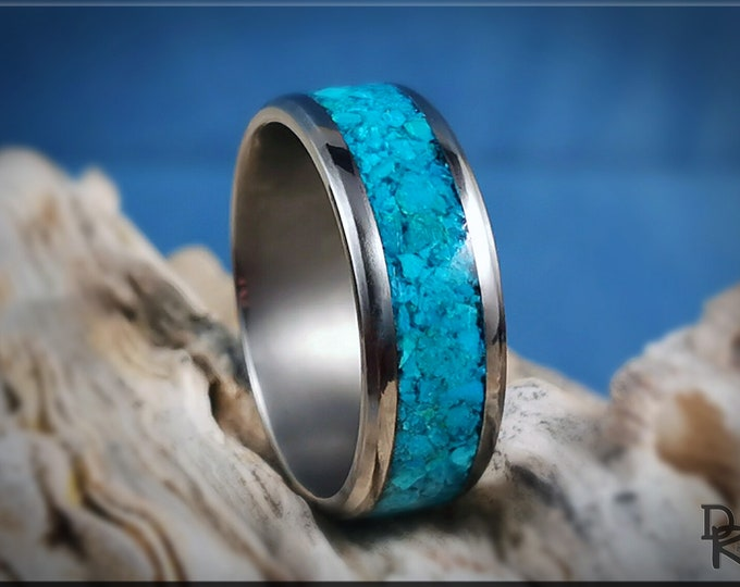 Titanium Channel Ring w/Blue Chrysocolla Stone inlay