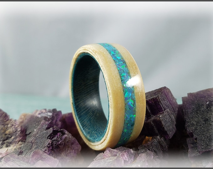 Bentwood Ring - Rare Angel Step Sycamore w/Aqua Fire Opal inlay, on Teal Blue Box Elder ring core