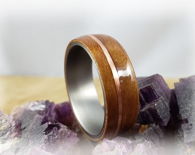 Bentwood Ring - Curly Cherry w/offset copper inlay on titanium ring core