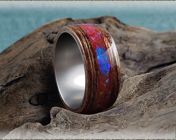 Bentwood Ring - Meranti w/Multi Fire and Pacific Blue chunk Opal inlay, on titanium ring core
