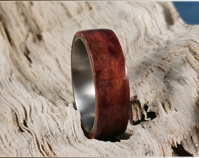 Bentwood Ring - Redwood Burl on titanium ring core
