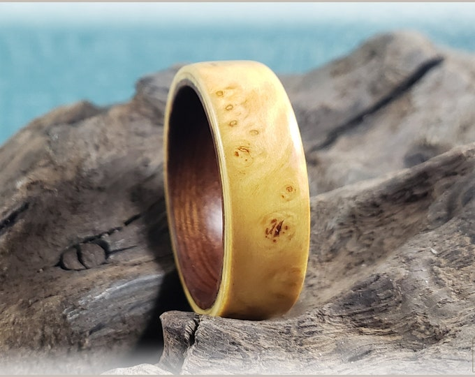 Bentwood Ring - Rare Nutmeg Burl on Ironwood ring core